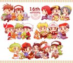 anniversary bel_(pokemon) bulbasaur charmander cheren_(pokemon) chibi chikorita chimchar crystal_(pokemon) cyndaquil gold_(pokemon) haruka_(pokemon) hikari_(pokemon) jun_(pokemon) kouki_(pokemon) looking_at_viewer mitsuru_(pokemon) mudkip n_(pokemon) ookido_green oshawott pikachu piplup pokemon pokemon_(game) pokemon_bw pokemon_dppt pokemon_gsc pokemon_rgby pokemon_rse red_(pokemon) red_(pokemon)_(classic) silver_(pokemon) sitting snivy squirtle tepig torchic totodile touko_(pokemon) touya_(pokemon) treecko turtwig yuuki_(pokemon)