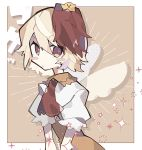1girl animal_on_head bird bird_on_head blonde_hair blush_stickers chick commentary_request dress highres looking_at_viewer mamimu_(ko_cha_22) multicolored_hair niwatari_kutaka on_head red_eyes red_neckwear redhead short_hair short_sleeves solo sparkle touhou two-tone_hair upper_body wings yellow_dress