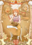 2girls akanbe_(smile_precure!) apple apple_core basket dual_persona food fruit highres hino_akane majorina multiple_girls open_mouth snow_white snow_white_(cosplay) snow_white_and_the_seven_dwarfs