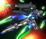 energy_sword explosion funnels gun gundam_age gundam_age-fx hiropon_(tasogare_no_puu) looking_at_viewer mecha no_humans robographer solo space stars weapon