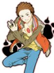 1boy belt blush_stickers brown_hair jewelry kamen_rider kamen_rider_wizard_(series) male mayonnaise natsucos nitou_kousuke ring short_hair solo