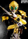 1boy belt character_name kamen_rider kamen_rider_beast kamen_rider_wizard_(series) male maru_(pixiv587569) mask photorealistic solo sword weapon