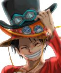 1boy adjusting_hat black_hair closed_eyes collarbone eyes_closed goggles_on_hat grin hat hat_tip monkey_d_luffy one_piece scar simple_background smile solo stacked_hats straw_hat top_hat