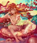 1girl bare_legs barefoot feet_in_water food fork fruit glasses grapes long_hair original petals red_hair redhead shorts smile soaking_feet strawberry surreal tank_top water