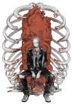 1boy blonde_hair blood dorohedoro expressionless formal glasses heart_(organ) maruco mask mask_removed mushroom necktie organs ribs shin shoes simple_background sitting sneakers solo stitches suit throne tuxedo