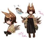 1girl animal_ears bird black_eyes blush brown_hair eurasian_tree_sparrow japanese_clothes looking_at_viewer nada_haruka original personification rough short_hair simple_background solo sparrow tail translated translation_request white_background