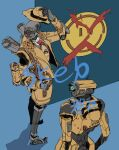 1boy apex_legends blue_eyes brown_headwear brown_jacket commission fake_facial_hair fake_mustache fedora from_above hat highres humanoid_robot jacket looking_back looking_to_the_side mrvn one-eyed open_hand pathfinder_(apex_legends) red_eyes science_fiction skeb_commission trench_coat watermark y_(user_rjry7778)