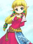 blonde_hair blue_eyes long_hair pointy_ears princess_zelda skyward_sword smile solo tendoast the_legend_of_zelda
