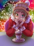 1girl blonde_hair blush coat cup dragon_kid green_eyes hat looking_at_viewer rduuroorn santa_hat solo teacup tiger_&_bunny tuque