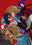 4boys arm_warmers blonde_hair blue_hair blush dio_brando gomix hat highres jojo_no_kimyou_na_bouken jonathan_joestar multiple_boys nightcap nightgown nightmare pajamas parody red_background robert_eo_speedwagon scar scarf simple_background sweat will_anthonio_zeppeli yaoi