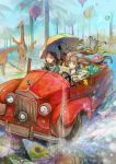 2girls black_hair blonde_hair blue_eyes car coffee controller game_controller giraffe glasses globe hot_air_balloon lantern motor_vehicle multiple_girls original palm_tree phone saya_(mychristian2) splashing sushi tree twintails umbrella vehicle water