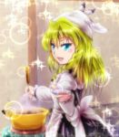 1girl alternate_eye_color apron blonde_hair blue_eyes blush_stickers braid dish food head_scarf kirisame_marisa ladle long_hair looking_at_viewer offering open_mouth pot pov rpg-exen single_braid solo soup sparkle touhou