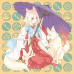 animal animal_ears blonde_hair bow bows fire fox fox_ears fox_tail hair_bow hakama isshiki isshoku_(shiki) japanese_clothes kneeling long_hair miko oriental_umbrella original red_eyes ribbon seiza sitting smile solo tail tassel traditional_clothes twintails umbrella
