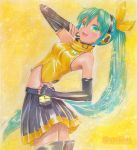 1girl alternate_hairstyle aqua_hair artist_name elbow_gloves fingerless_gloves gloves green_eyes hair_ribbon hand_on_hip hatsune_miku headset long_hair mayo_riyo midriff open_mouth ponytail project_diva ribbon skirt solo thigh-highs thighhighs traditional_media very_long_hair vocaloid zettai_ryouiki