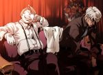 2boys captain_(hellsing) couch dark_skin gloves glowing_glasses hellsing imasan major_(hellsing) multiple_boys necktie red_eyes sitting suspenders white_gloves white_hair