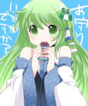 1girl blush detached_sleeves frog_hair_ornament green_eyes green_hair hair_ornament hair_tubes hammer_(sunset_beach) kochiya_sanae long_hair omamori snake_hair_ornament solo talisman touhou translated