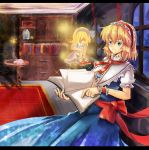 1girl alice_margatroid alice_margatroid_(young) blonde_hair blue_eyes book bow capelet cup dress hair_bow hairband highres moec ribbon short_hair smile solo table teacup touhou window