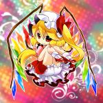 1girl blonde_hair bloomers chibi fang flandre_scarlet hat knees_on_chest mary_janes munyumunyu red_eyes shoes side_ponytail solo touhou wings