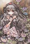1girl bare_shoulders flower frills frown gothic_lolita jewelry lolita_fashion lolita_hairband long_hair moyo purple_eyes ring rose rozen_maiden silver_hair solo traditional_media violet_eyes