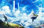 animal bird chitose_rin cloud clouds dress floating floating_city flower flowers gray_hair highres landscape original petals pillar rose ruins scenery scenic short_hair sky wings