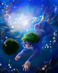 1girl backpack bag blue_eyes blue_hair boots bubble dress fish hanako5200 hat highres kawashiro_nitori solo sunbeam sunlight swimming touhou underwater