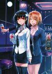 2girls :d :o alcohol aoki_(miharuu) bar bar_stool black_hair blonde_hair bottle cup flower full_moon green_eyes hair_flower hair_ornament hydrangea jack_daniel's jack_daniel's long_hair looking_at_viewer moon multiple_girls necktie night office_lady open_mouth red_eyes sanka_rea sankarea saouji_ranko short_hair siqi_(miharuu) smile thigh-highs thighhighs whiskey window wine_glass