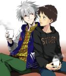 2boys alternate_costume blue_eyes brown_hair casual cup grey_hair hoodie hosaka_dx ikari_shinji jacket letterman_jacket multiple_boys nagisa_kaworu neon_genesis_evangelion red_eyes sitting smile