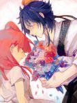 1boy 1girl black_hair blush bouquet confession couple flower kasabuta magi_the_labyrinth_of_magic morgiana red_hair redhead ren_hakuryuu shy tegaki