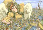 angel_wings buried defender_(elona) elona gem goddess greaves green_hair hat jure_of_healing rueken tears wings
