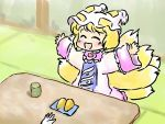 1girl arms_up blonde_hair closed_eyes cup dress eyes_closed fox_tail hands happy hat hat_with_ears long_sleeves mikashimo mikasimo multiple_tails open_mouth pink_dress plate short_hair sitting smile tabard table tail tatami teacup touhou wide_sleeves yakumo_ran