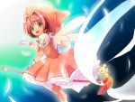 1girl brown_hair card card_captor_sakura cardcaptor_sakura dress fuuin_no_tsue gloves green_eyes kero kinomoto_sakura magical_girl renshuusha riding sakura_card short_hair wand wings