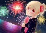 1girl alternate_costume blonde_hair blush bust fan fireworks hair_ribbon hair_up japanese_clothes kimono koji_(kohei66) open_mouth paper_fan red_eyes ribbon rumia short_hair smile solo touhou uchiwa yukata