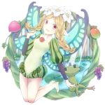 1girl aquariumtama blonde_hair braid butterfly_wings fairy flower food frog fruit hair_flower hair_ornament ingway long_hair mercedes odin_sphere open_mouth pointy_ears puff_and_slash_sleeves red_eyes twin_braids wings