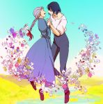 1boy 1girl blue_hair braid closed_eyes couple dress earrings eyes_closed floating flower grey_hair hand_holding happy highres holding_hands howl howl_no_ugoku_shiro jewelry pendant smile sophie studio_ghibli wattaro