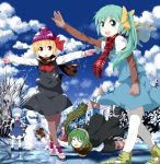 5girls adapted_costume alternate_headwear antennae arm_up ascot black_dress black_hair black_legwear blonde_hair blue_dress blue_gloves blue_hair blue_sky bow brown_eyes brown_gloves cape character_name cirno closed_eyes cloud clouds daiyousei dress earmuffs eyes_closed fairy_wings falling fishing_rod forest gloves green_eyes green_hair hair_bow hair_ribbon hakurei_reimu hat highres hole ice ice_fishing ice_skates ice_skating ice_wings lake long_hair long_sleeves multiple_girls nature nazi_salute open_mouth outstretched_arms pantyhose pink_gloves puffy_sleeves red_eyes ribbon rumia scarf scarlet_devil_mansion shirt shocked_eyes short_hair short_over_long_sleeves short_sleeves shorts side_ponytail skates skating skirt skirt_set sky smile snow snow_on_head snowman striped striped_legwear team_9 thigh-highs thighhighs touhou tsurukou_(tksymkw) white_legwear wings winter winter_clothes wriggle_nightbug zettai_ryouiki