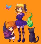 2girls alice_(odin_sphere) animal_ears bear_ears blonde_hair bloomers brown_hair butterfly cat crossover dress grimgrimoire hair_ribbon hat hitodama izuna_jinkuro kara_(color) kuma-tan kumatanchi multiple_girls oboro_muramasa odin_sphere open_mouth ribbon shoes short_hair simple_background socrates_(odin_sphere) striped striped_legwear twintails witch_hat wizard_hat