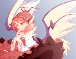 1girl alternate_eye_color animal_ears blue_background brown_dress covering_mouth dress dress_lift earrings feathers fingernails gazing hands_together hat holding jewelry kokutou-3325 long_fingernails long_sleeves mystia_lorelei orange_eyes petticoat pink_hair short_hair simple_background solo touhou wings