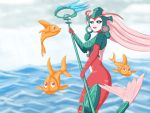 1girl alternate_costume armor black_sclera blue_eyes fish headdress jefflink league_of_legends mermaid monster_girl nami_(league_of_legends) ocean open_mouth scales solo staff tail water weapon