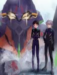 2boys blue_eyes brown_hair eva_01 eva_13 highres ikari_shinji light_smile male megumi_(amekanha) multiple_boys nagisa_kaworu neon_genesis_evangelion nerv plugsuit red_eyes silver_hair