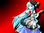1girl armband blue_hair electric_guitar food fruit guitar hat highres hinanawi_tenshi hoshishiitake instrument juliet_sleeves leaf light_smile long_hair long_sleeves looking_at_viewer peach pick puffy_sleeves red_background red_eyes ribbon shadow simple_background sleeves_past_wrists solo touhou very_long_hair