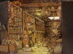 1boy 1girl bag basement bread climbing dress food hat jar ladder meat original pone scenery shelves tiptoes