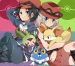 1girl black_hair blonde_hair blue_eyes blush boots brown_hair chespin female_protagonist_(pokemon_xy) fennekin froakie goggles goggles_on_hat hat jacket long_hair male_protagonist_(pokemon_xy) mari03mo pleated_skirt pokemon pokemon_(game) pokemon_xy skirt smile watch wristwatch