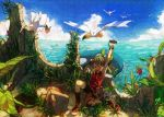 aron bandana berries bike_shorts blue_sky brown_hair closed_eyes cloud clouds flower gloves haruka_(pokemon) haruka_(pokemon_emerald) highres nature nuzleaf ocean odamaki_sapphire open_mouth pokemon pokemon_(creature) pokemon_(game) pokemon_rse ruins satobitorotoku sky twintails wingull yawning
