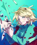 a_(character) blonde_hair closed_eyes crayon eyeball eyes_closed flower knife nostalgic pill rose smile spoilers tomatomikan worms