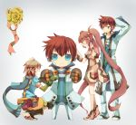 alternate_costume asbel_lhant blue_eyes brown_hair gloves long_hair multicolored_hair pascal purple_eyes purple_hair scarf smile sophie_(tales_of_graces) tales_of_(series) tales_of_graces twintails violet_eyes yachi_kou