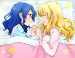 2girls aikatsu! bed blonde_hair blue_eyes blue_hair blush closed_eyes eyes_closed hand_holding holding_hands hoshimiya_ichigo interlocked_fingers kiriya_aoi long_hair lying multiple_girls nomeo on_side open_mouth pajamas pillow profile smile star under_covers