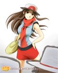 akosan bag blue_(pokemon) brown_eyes brown_hair hat long_hair multiple_girls pokemon porkpie_hat scarf skirt smile translation_request