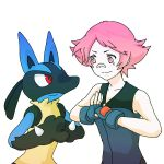 1girl bandaid_on_nose fingerless_gloves gloves gym_leader lucario palm-fist_greeting pink_eyes pink_hair pokemon pokemon_(game) pokemon_dppt red_eyes short_hair smile sowakoo sumomo_(pokemon)