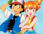 1boy 1girl arm_hug artist_request baseball_cap black_hair blush gloves green_eyes hat kasumi_(pokemon) open_clothes open_jacket open_mouth orange_hair pokemon pokemon_(anime) satoshi_(pokemon) shorts side_ponytail suspenders tank_top