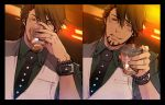 1boy alcohol bracelet brown_eyes brown_hair drinking facial_hair jewelry kaburagi_t_kotetsu mamita necktie ring solo stubble tiger_&_bunny vest waistcoat watch wedding_band wristwatch